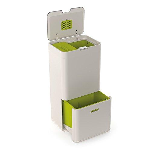 Joseph Joseph IntelligentWaste Totem 60 - Abfallbehälter mit separater Recycling-Einheit, inkl. Biomüll-Caddy,  60 Liter - steinfarbig