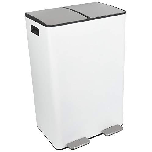 Ribelli Duo Mülleimer aus Edelstahl - 60 Liter (2x30L) - Mülltrennung, Mülltrennsysteme mit 2 Inneneimern, Treteimer, Abfalleimer, Müllbehälter, Papierkorb (weiß)