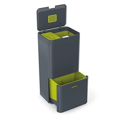 Joseph Joseph IntelligentWaste Totem 60 - Abfallbehälter mit separater Recycling-Einheit, inkl. Biomüll-Caddy,  60 Liter - graphit