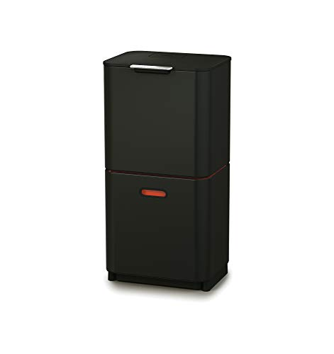 Joseph Joseph IntelligentWaste Totem Compact 40 Mülltrennsystem - Abfallbehälter mit separater Recycling-Einheit, 40 Liter - graphit