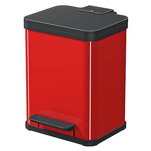 Hailo Öko duo Plus M   Mülltrenner 2 x 9 Liter   18 Liter   Soft Close Deckeldämpfung   2-In-1 Treteimer mit Inneneimern   Mülleimer rechteckig   Made in Germany   Stahlblech   rot
