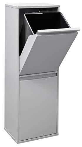 ARREGUI Basic CR202-B Recycling Abfalleimer/Mülleimer aus Stahl, Mülltrennsystem mit 2 entnehmbaren Inneneimern aus Kunststoff mit Griff, 2 x 17L (34 L), hellgrau, Legierter, 90,5 x 30,5 x 24,5 cm
