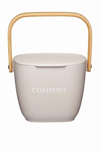 KitchenCraft Natural Elements Komposteimer für die Küche, Bambusfaser, Spachtelgrau, 3 Liter