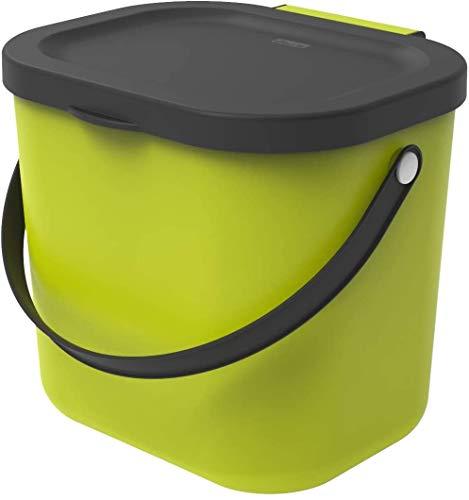 Rotho Albula Biomülleimer 6l mit Deckel und Henkel für die Küche, Kunststoff (PP) BPA-frei, hellgrün/anthrazit, 6l (23,5 x 20,0 x 20,8 cm)