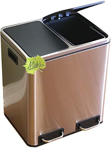 Made for us 30 L Edelstahl Tret-Abfalleimer 2x15 L Mülleimer 2-Fach Mülltrennung 2er Müll-Trennsystem 30 Liter Abfallsammler zur Abfall-Trennung Pedal-Treteimer original