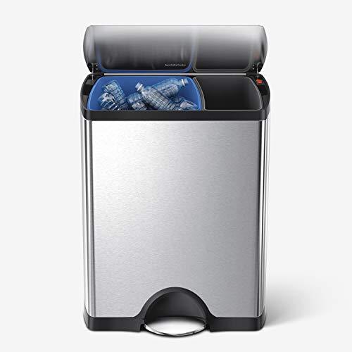 simplehuman, 46 Liter, rechteckiger Recycler, gebürsteter Stahl, 10 Jahre Garantie