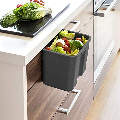 Biobin Multifunktionsbehälter 4,2 L anthrazit mit Deckel 170 x 227 x 172 mm zum Einhängen Multifunktionsbox Einhängebehälter von SO-TECH®